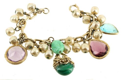 "Vintage Bracelet Purple Blue Glass Charms Glass Pearls Peking Glass Germany 7.5"""