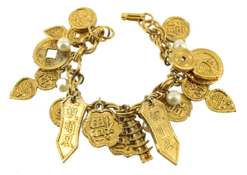 """Vintage Chinese Charms & Pearls Gold Plated Dangle Drop Link Bracelet 7.25"""" Big!"""