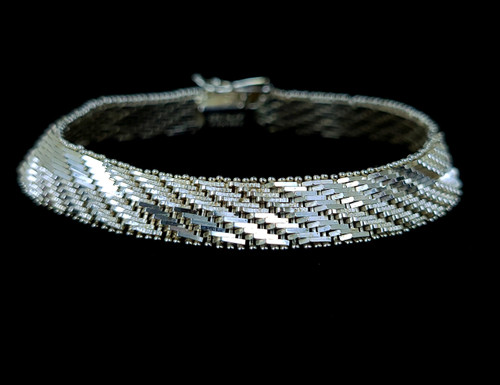 """Vintage Sterling Silver Thick Heavy 925 Woven Mesh Bracelet 7.5"""""""