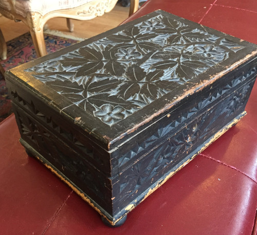 Antique Deco Carved Black Forest Wood Jewelry Box 1920s Handwritten Note Germany