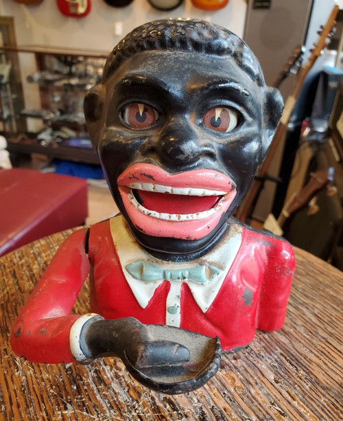 Antique Jolly Black Man Red Suit Cast Iron Mechanical Bank Americana- Works!