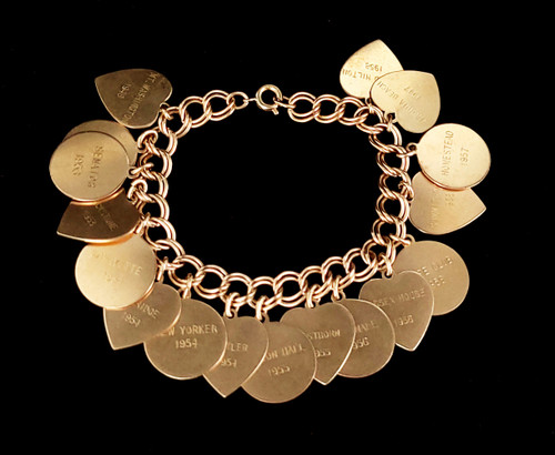 """Vintage 12k Gold Filled GF 40s-50s Places Traveled Round Heart Charms Bracelet 7"""""""