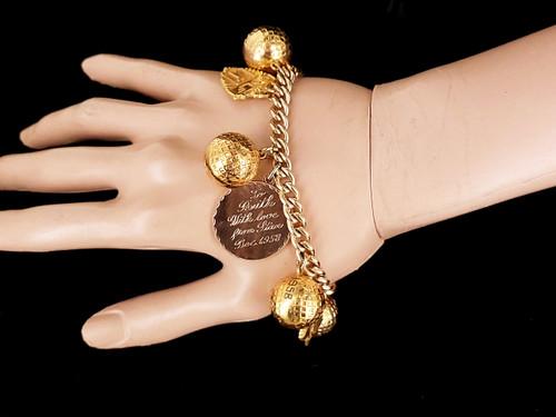 "Vintage 10k Gold Filled GF 50s-60s Golf Ball Tournament Charms Bracelet  7.5"""