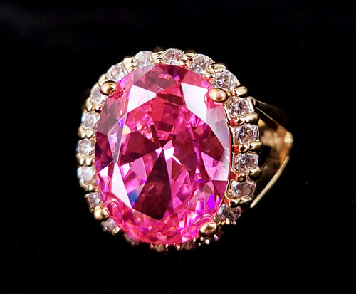 Vintage Gold Over Sterling Kunzite Cubic Zirconia Jackie Kennedy Ring 7.5 w box