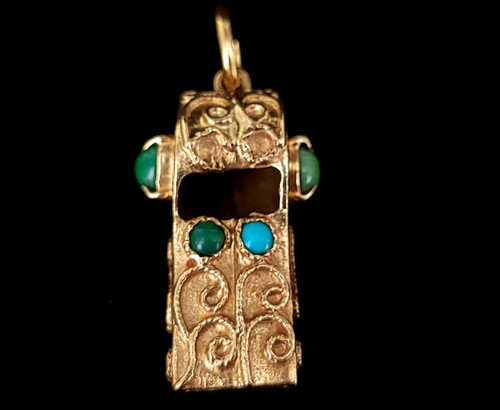 "Vintage 14k Gold Green Turquoise Ornate Whistle Pendant Charm 2"""