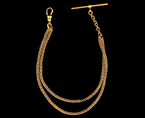 """Antique 12k Gold Filled GF Heavy Double Strand Albert Watch Fob Chain 9"""""""