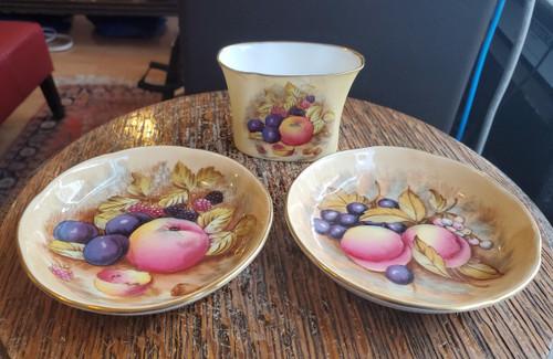 Antique Aynsley Orchard Gold Jones Porcelain Set of 3 Cigarette Holder & Dishes