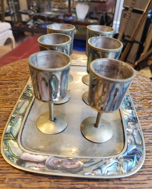 Vintage Mexican Alpaca Silver Abalone Inlay Mini Goblets & Tray Sherry Set of 6