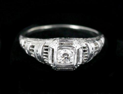 Antique Art Deco 14k White Gold 0.14ct Mine Cut Diamond GHI Filigree Ring 6.5