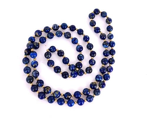 "Vintage Modernist 14K Gold & Lapis Lazuli Round Bead Necklace 31"" Pretty 1960-70"