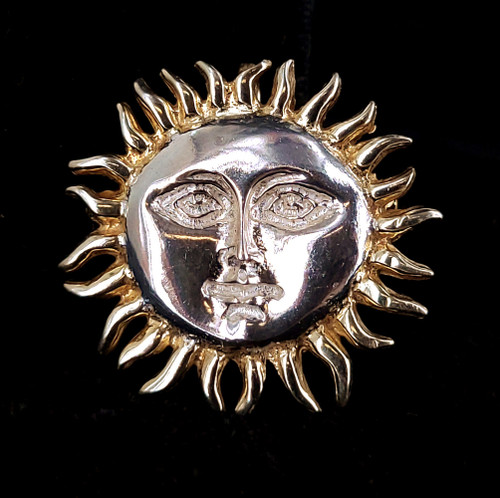 """Vintage Mexico Sterling Silver Sun With Face Brooch Pin Pendant 1.25"""""""