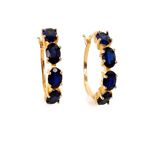 """Vintage Gold Over Sterling Faceted Synthetic Blue Sapphire Hoop Earrings 1"""""""