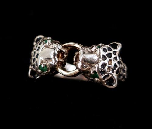 Vintage Sterling Silver Emerald Panther Jaguar Cheetah Animal Head Ring sz 6