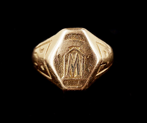 Antique 14k Yellow Gold Deco 1920s Class Ring Signet Ring Size 6.5