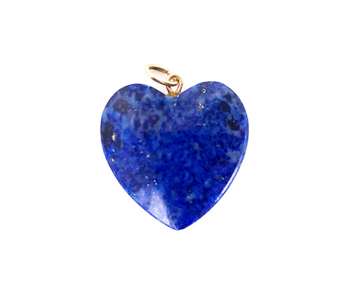 Vintage Modernist 14K Gold Lapis Lazuli Carved Heart Charm Pendant 1960-1970