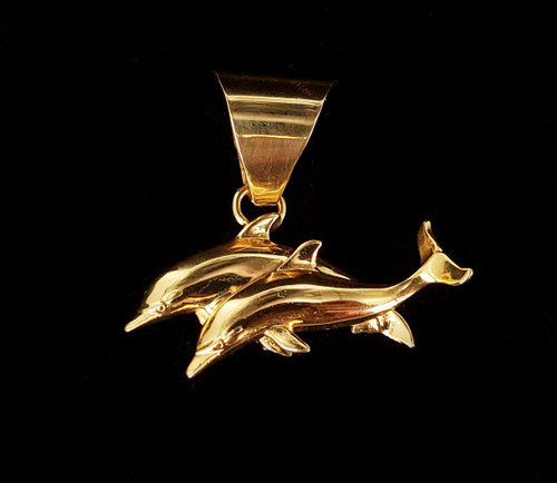 Vintage Gold over Sterling Silver Dolphins Nautical Pendant Charm