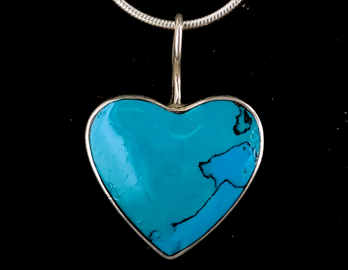 """Vintage Sterling Silver Turquoise Heart Taxco Mexico Pendant Necklace 16"""""""