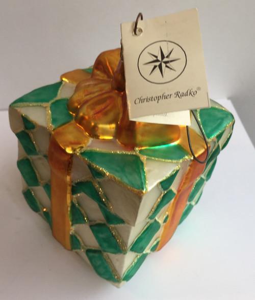 Vintage Christopher Radko Wrapped Present Box Christmas Ornament Retired RARE