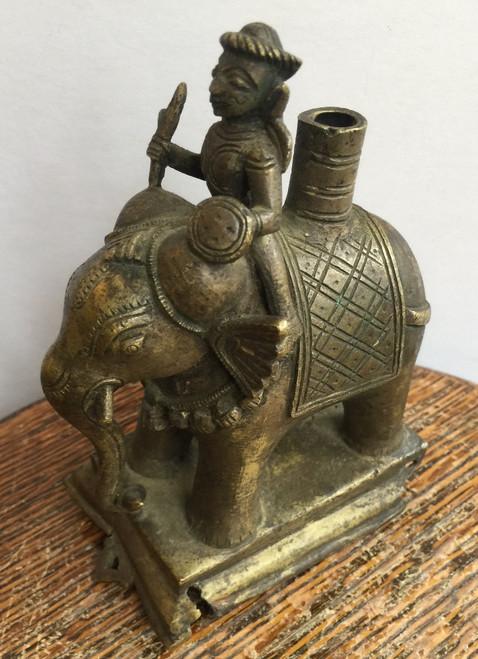 "Antique Victorian Brass Indian Elephant Statue Pen Holder 5.5"" Very RARE"