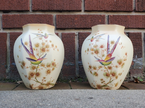 """Antique 1920s Crown Ducal Mirrored Hummingbird & Butterfly Vase Pair 8"""" Amazing"""