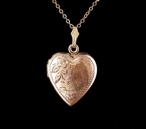 Antique Deco 12k Gold Filled Sterling Silver Floral Heart Shaped Locket Pendant Necklace