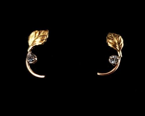 Vintage 14K Yellow Gold Krementz Diamond Paste Leaf Petite Post Earrings