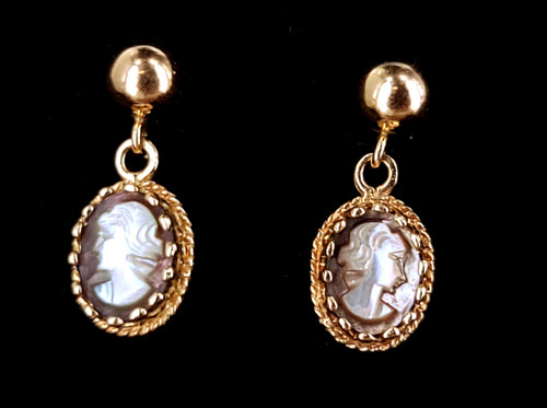 Vintage 14K Yellow Gold Carved Mother of Pearl Cameo Dangle Post Earrings
