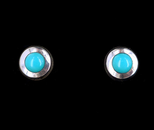 """Vintage Sterling Silver Taxco Mexico Turquoise Round Post Earrings 1"""""""