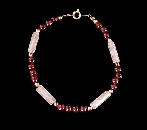 "Vintage 12k Yellow Gold Filled GF Rose Quartz Garnet Beaded Bracelet 7"""