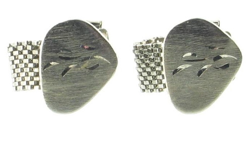 Vintage 1950's Florentine Engraved Silver Tone Wrap Around Mesh Cufflinks Nice!