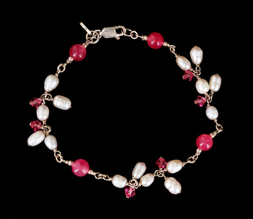 """Vintage Sterling Silver Pink Quartz Baroque Pearl Wire Wrapped Beaded Bracelet 7.5"""""""