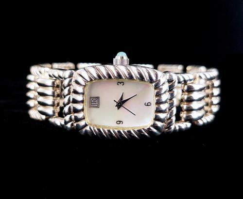 "Vintage Sterling Silver Judith Ripka Mother of Pearl Quartz Watch Bracelet 7.5"""