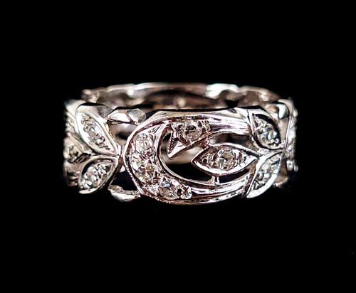 Vintage 14k White Gold Filigree Floral Openwork .24ct Diamond Ring Band sz 7