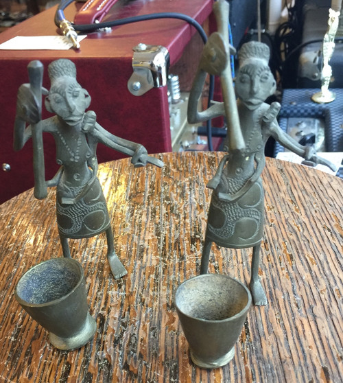 "Vintage Ashanti Ghana Africa Brass Candlestick Pair Tribal Art Mother & Child 5"""