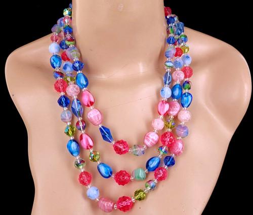 Vintage Hattie Carnegie Rare Gripoix Glass 3 Strand Beaded Necklace