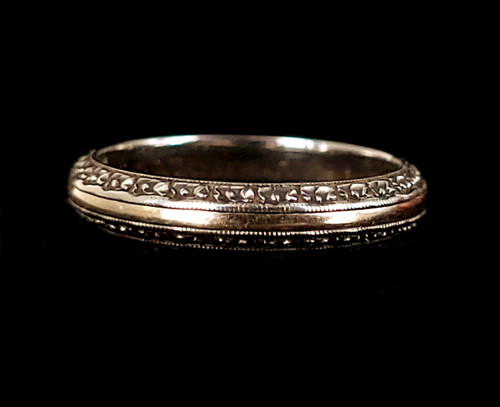 Antique Art Deco 14k Yellow White Gold Dainty Floral Ring Band sz 6