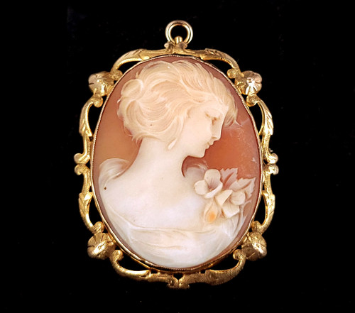 """Antique Deco 10k Yellow Gold Cameo Carved Shell Brooch Pin Pendant 1.75"""""""