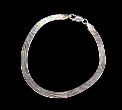 "Vintage Sterling Silver 4mm Flat Herringbone Snake Disco 70s Chain Bracelet 7"""