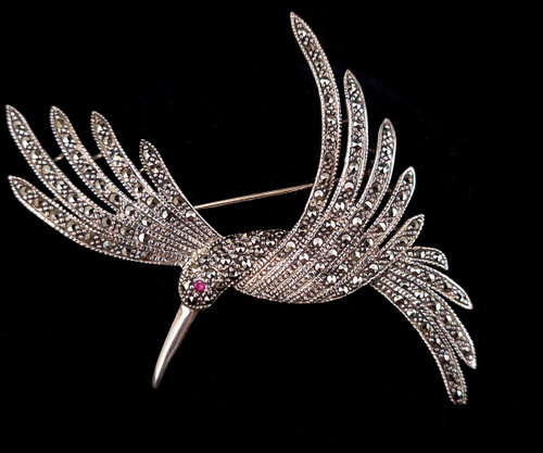 """Vintage Sterling Marcasite Bird of Paradise Cute Large Pin Brooch 3"""""""