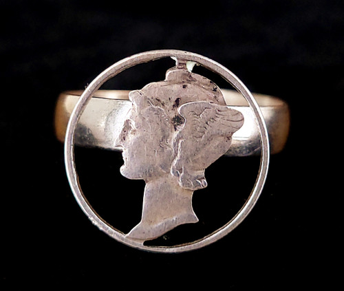 Vintage Sterling Silver Winged Mercury Hermes Cut Out Dime Coin Ring Adjustable