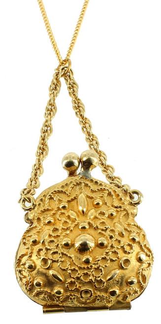 "Vintage Goldette Chatelaine Coin Purse Long Drop Gold Plated Necklace 24"" Works!"