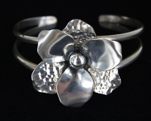 Vintage Sterling Silver 925 Hand Made Flower Statement 2 Band Cuff Bracelet