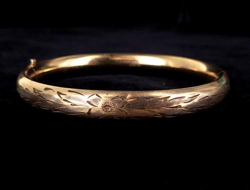 """Antique 12K GF Gold Filled Art Deco Carl Art Etched Engraved Bangle Bracelet 7"""""""