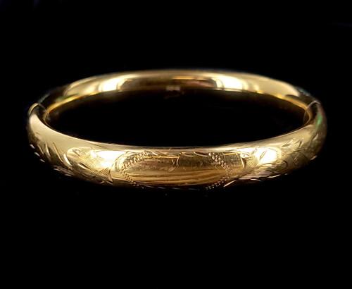 """Vintage 12K GF Gold Filled Art Deco Floral Etched Engraved Bangle Bracelet 7"""""""