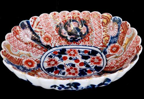 """Antique Japanese Meiji Imari Fluted Scalloped Porcelain Bowl Beautiful 7.5"""""""
