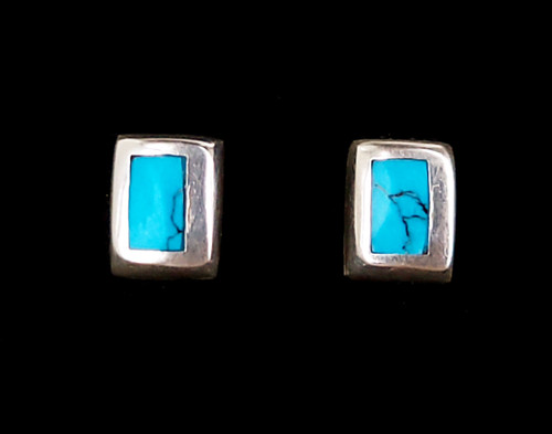 """Vintage Sterling Silver Blue Turquoise Inlay Rectangle Post Earrings .4"""""""