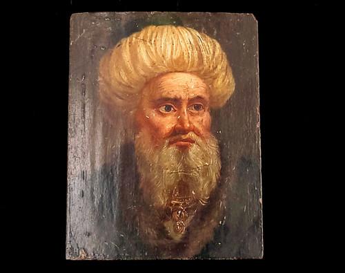 Antique Orientalist Miniature Portrait Oil Painting Victorian Original on Wood