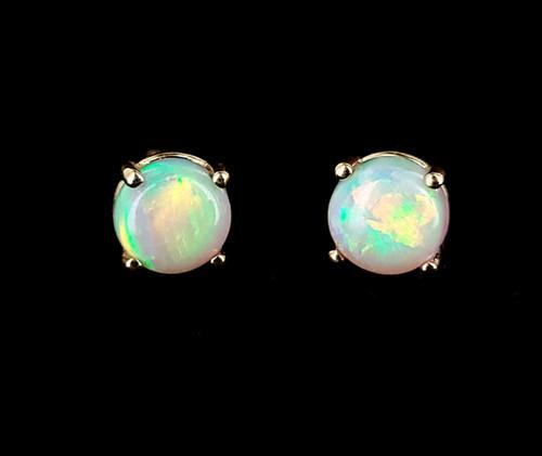 Vintage Gold Over Sterling Genuine Ethiopian Opal Gemstone Post Back Earrings