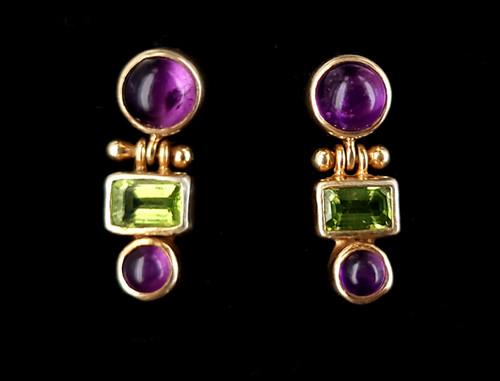 "Vintage Gold over Sterling Peridot Amethyst Gemstone Drop Dangle Earrings .80"""