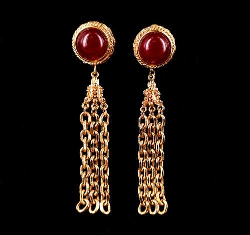"""Vintage Givenchy Signed Red Glass Gold Plate Drop Dangle Chain Clip On Earrings 3"""""""